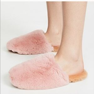 Madewell Wallis Faux Fur Slippers Forgotten Petal